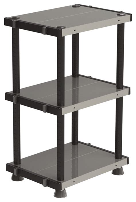 adjustable metal plastic 3 tier shelf black 18 x24