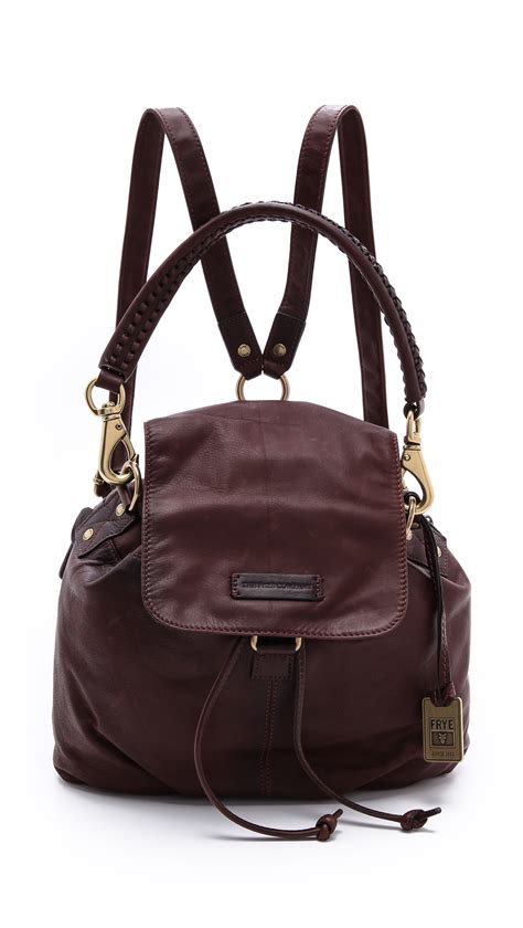 Rugged Boots For Women Lyst Frye Jenny Backpack In Brown