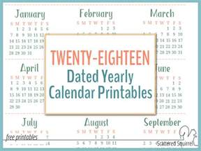 Calendar 2018 Printable Yearly 2018 Dated Yearly Calendar Printables Are Here