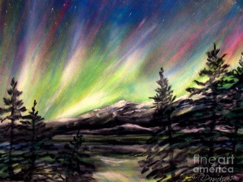 northern lights sun l rocky mountain northern lights pastel by l davidson