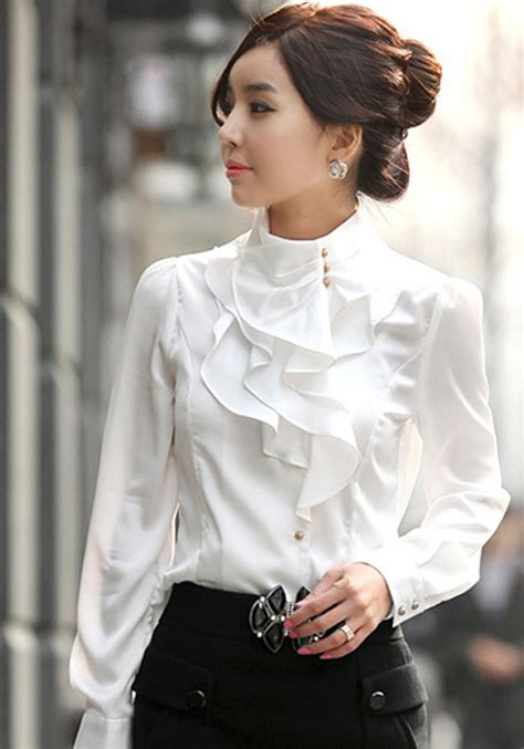 Ruffle Collar Blouse Sleeve by White Plain Stand Collar Ruffle Decorated Casual Cotton Ol