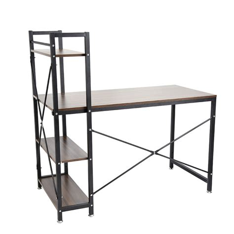 Steel Computer Desk Functional Home Bookcase Shelf Stainless Steel Computer Desk Pc Table 4 Tiers Bookcase Shelves