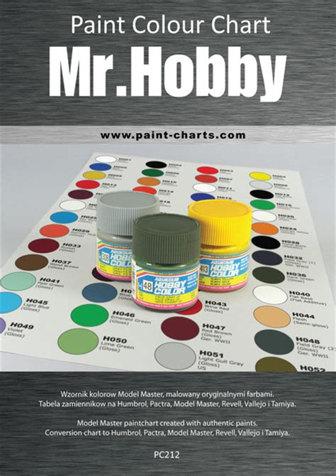 paint colour chart gunze mr hobby 20mm pjb pc212