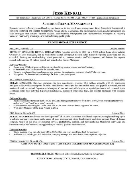 Store Manager Retail Sle Resume by 1000 Ideas About Exles Of Resume Objectives On Exle Of Resume Letter Writing