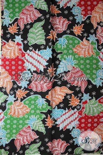 Batik Katun Motif Daun Pejabat kain batik murah motif daun bunga bagus warna hitam
