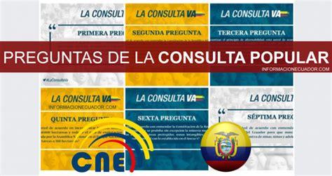preguntas consulta popular ecuador 2018 consejo nacional - Preguntas Del Si O No Ecuador