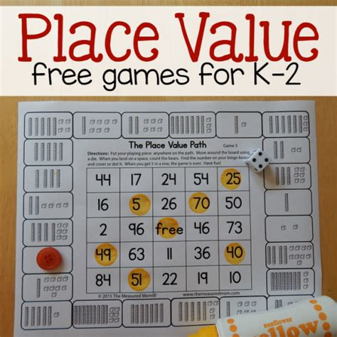 printable math games on place value free place value games for k 2 the measured mom