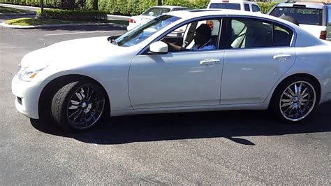 infiniti g37 with rims me chilling on my white infinity g37 and 20 rims