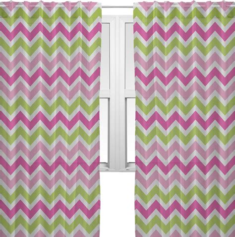 Pink Chevron Curtains Pink Green Chevron Sheer Curtains 60 Quot X84 Quot Personalized Youcustomizeit