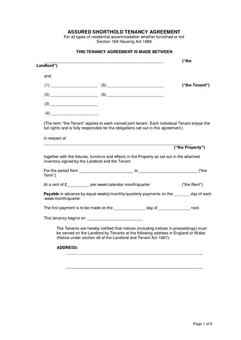 free assured shorthold tenancy agreement template best photos of tenancy agreement template tenancy