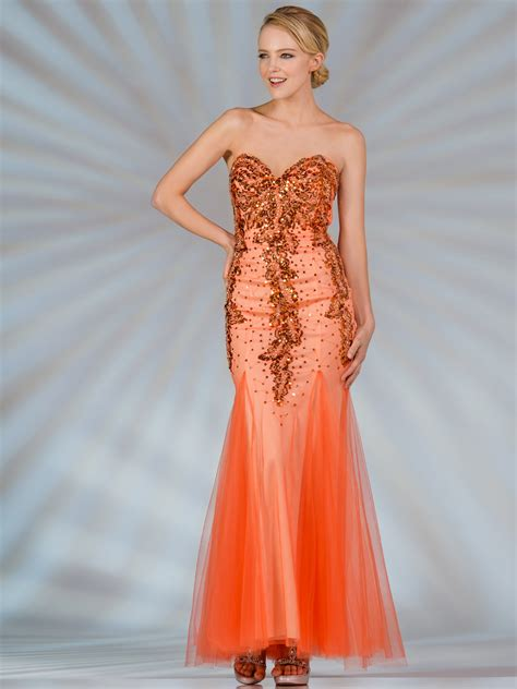 Orange Strapless Mermaid Prom Dress Sung Boutique L.A.