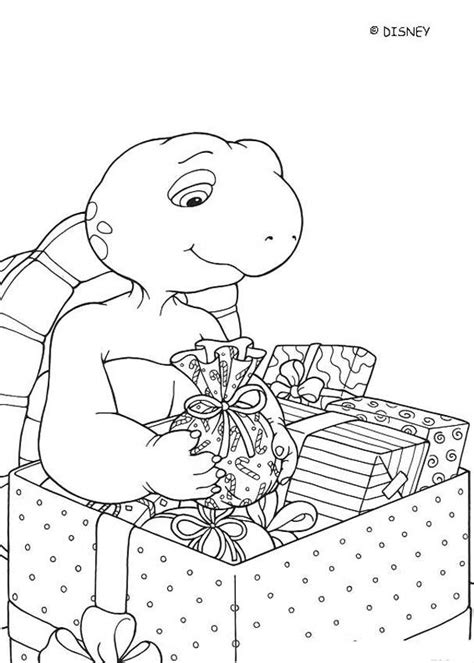 franklin and christmas presents coloring pages hellokids com