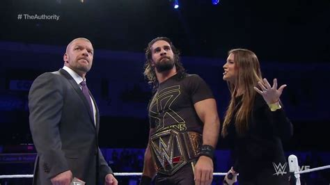 stephanie mcmahon asks triple h to sign the annulment triple h seth rollins stephanie mcmahon wwe