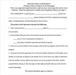 separation agreement template 8 free documents