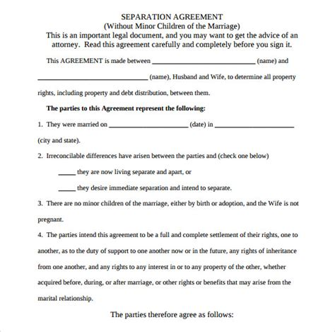 Agreement Letter For Marriage Separation Separation Agreement Template 8 Free Documents In Pdf Word Sle Templates