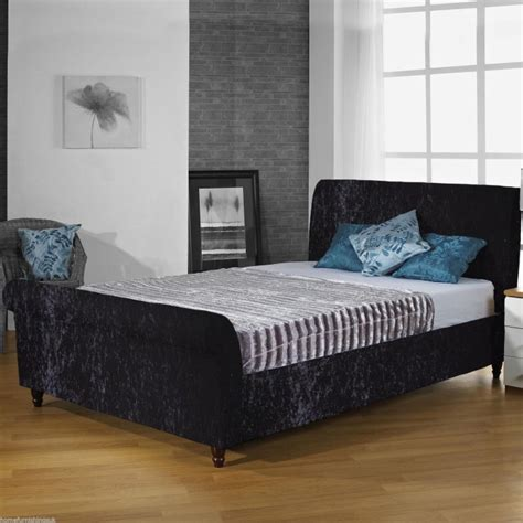 Velvet Sleigh Bed Hf4you Crushed Velvet Upholstered Sleigh Bed Fast Delivery Sale Prices
