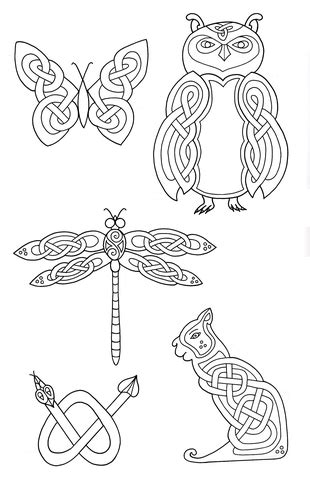 celtic animals designs  coloring page  printable