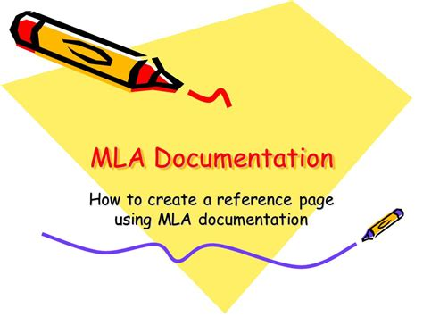 how to create a reference page using mla documentation ppt