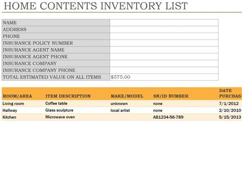 Home Inventory Spreadsheet Home Inventory Template Home Inventory Template