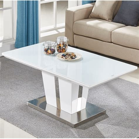white glass top coffee table coffee table in white high gloss with glass top
