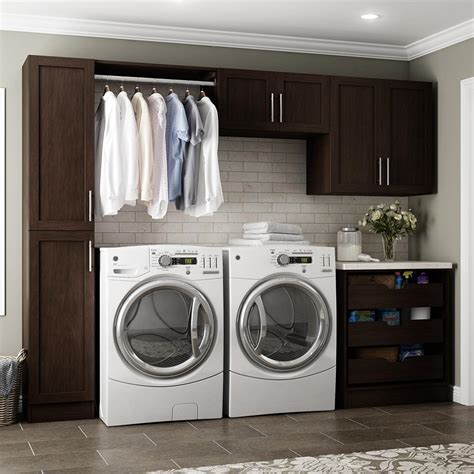 Storage Cabinet For Laundry Room Modifi Horizon 105 In W White Laundry Cabinet Kit Enl105 Hpw The Home Depot