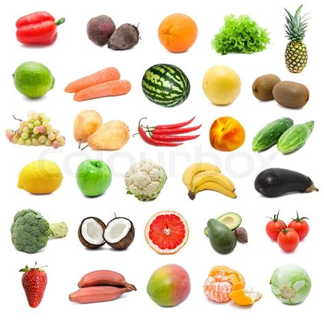 5 fruits and vegetables large collection of fruits and vegetables isolated on