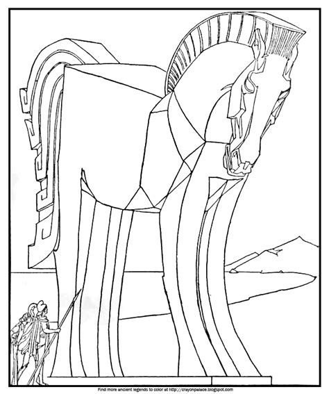 coloring page trojan horse color the great wooden horse crayon palace