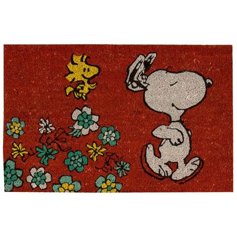 snoopy rugs peanuts welcome 1 ft 6 in x 2 ft 4 in accent rug 261069 the home depot