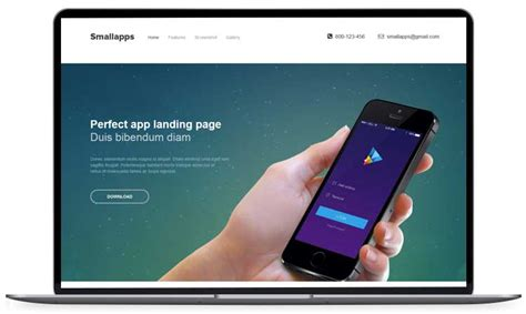 small apps free app landing page template
