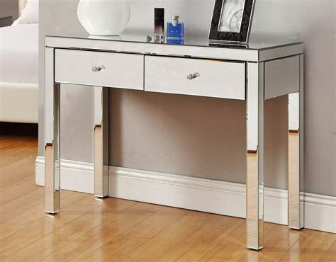 Hallway Table With Mirror Reflections Mirrored Console Hallway Dressing Table 2 Drawer Ebay