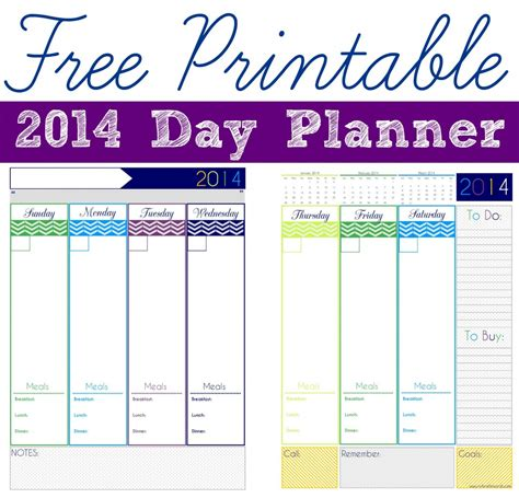 Free Printable Day Planner Pages 2014 | day to a page planner calendar template 2016