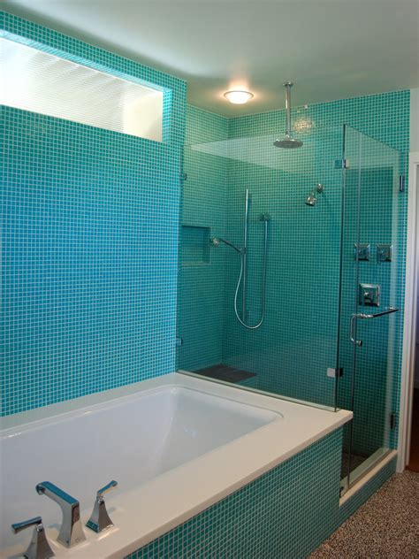 turquoise glass tile bathroom contemporary blue tile glass shower beeyoutifullifecom