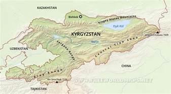 middle east map kyrgyzstan kirgistan fluss karte
