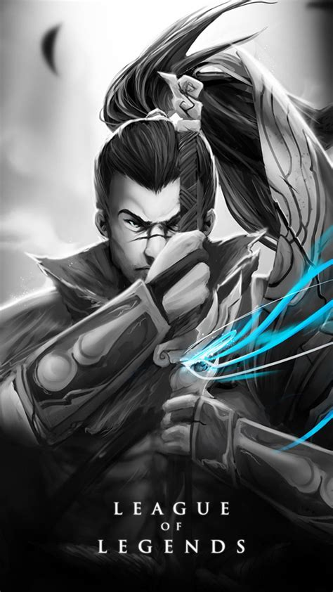 yasuo skin black  white android iphone wallpaper