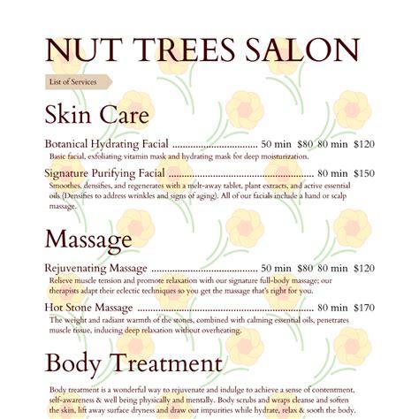 design menu spa spa menu templates and designs from imenupro