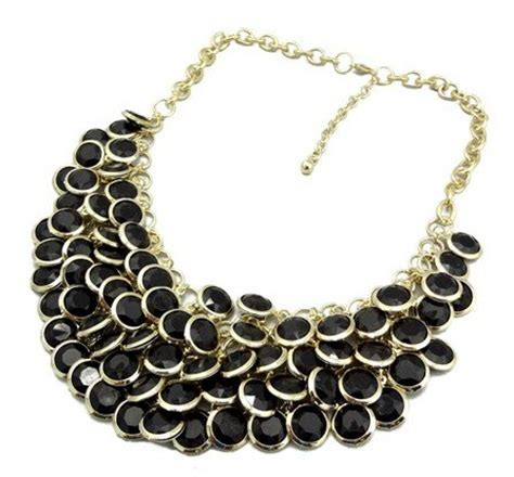 Chunky Gems Metal Collar Necklace black chunky multi layers resin gem statement