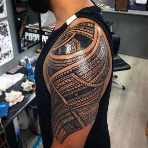 50 polynesian half sleeve tattoo designs for men tribal