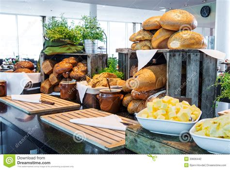 stock photography bread display at a hotel buffet
