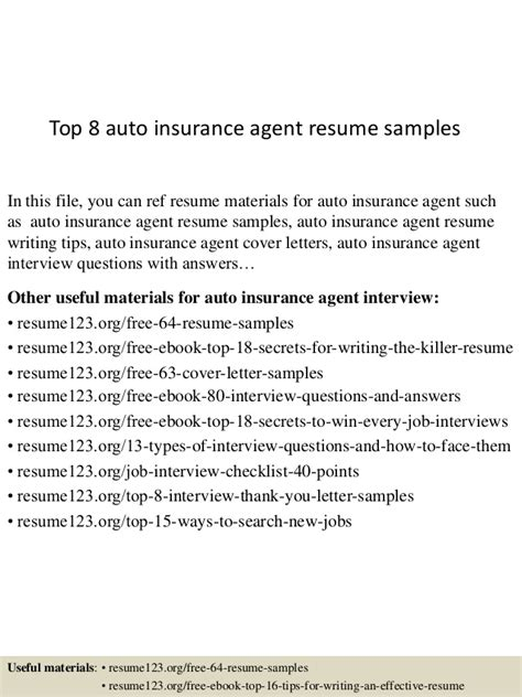 Auto Insurance Broker by Top 8 Auto Insurance Resume Sles