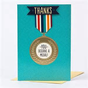 thank you card you deserve a medal only 79p