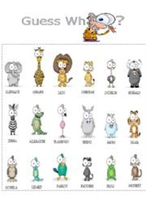 printable animal guessing game english teaching worksheets guess who