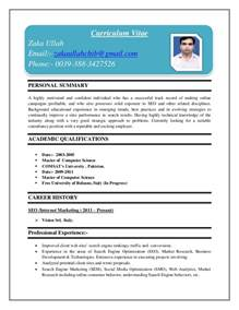 Resume 1 Page Template by Curriculum Vitae Sample