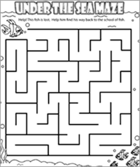 printable beach maze funschool under the sea maze ocean themed printables