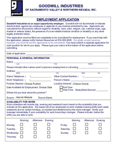 Printable Job Application For Goodwill | goodwill job application whitneyport daily com