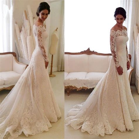White Off the shoulder Lace Long Sleeve Bridal Gowns Sheath Cheap Simple Custom Made Wedding