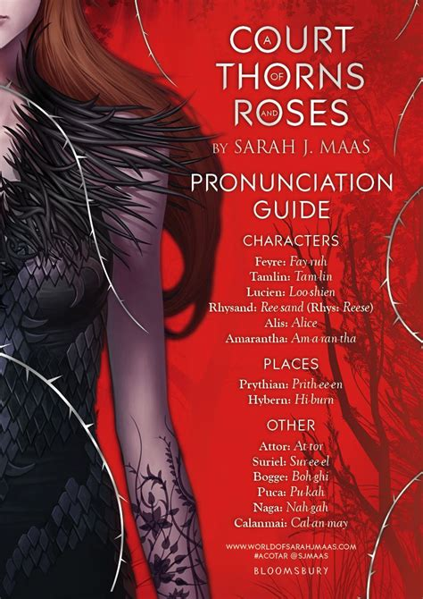 a court of thorns a pronunciation guide to help you with some of the names and places in a court of thorns and
