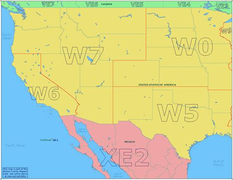 map usa west radio prefix map of the western usa