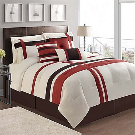 berkley 7 piece comforter set in ivory red bed bath beyond
