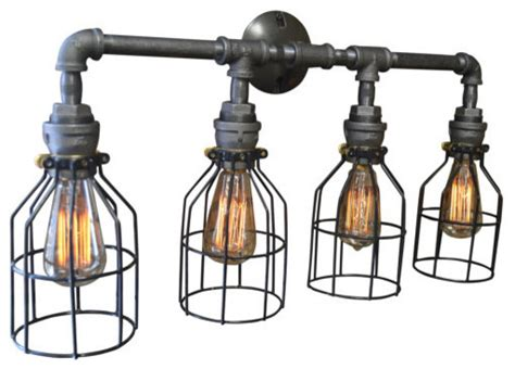 Felix 4 Light Cage Vanity Fixture Industrial Bathroom Vanity Lighting by West Ninth Vintage