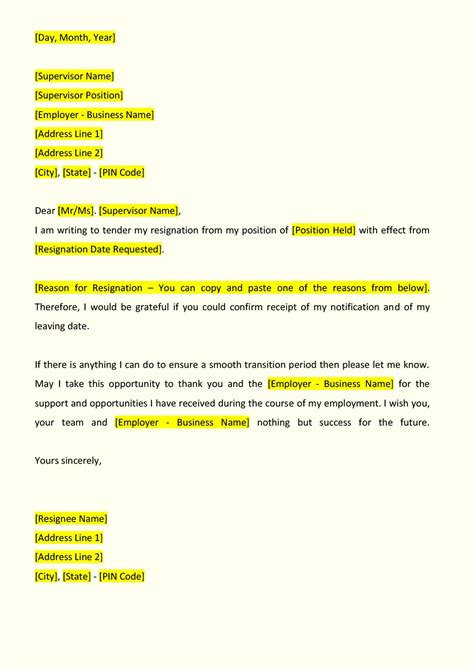 Resignation Letter Format Sle For Employee Resignation Letter Format Indiafilings Document Center